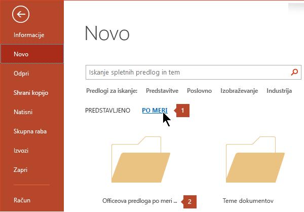 V razdelku Datoteka > novo, kliknite po meri in nato Officeove predloge po meri.
