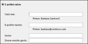 Vnesite e-poštni naslov in geslo za Exchange