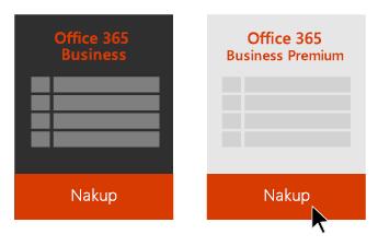 Možnosti za Office 365 Business in Office 365 Business Premium s puščico, ki kaže na gumb »Nakup« pod storitvijo Office 365 Business Premium.