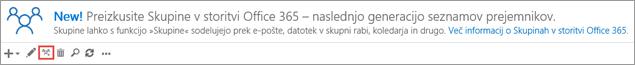 Kliknite ali tapnite ikono »Nadgradi v skupino v storitvi Office 365«.