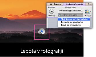 Skritje ikone med diaprojekcijo
