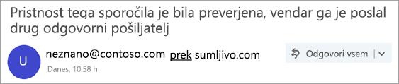 Posnetek zaslona z oznako »prek«