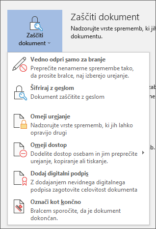 Meni zaščiti dokument v Wordu za Office 365