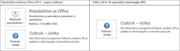 Slika, na kateri je prikazano, kako ugotovite, ali je namestitev sistema Office 2013 namestitev s tehnologijo »zagon s klikom« oziroma namestitvenim programom MSI