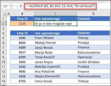 """Primer funkcije XLOOKUP, ki se uporablja za vrnitev imena in službe delavca na podlagi ID-ja zaposlenega z argumentom» if_not_found «. Formula je = XLOOKUP (B2, B5: B14; C5: D14; 0; 1; """"zaposlenega ni bilo mogoče najti"""")"""