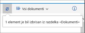 Vrstica s stanjem brisanja na vrhu zaslona