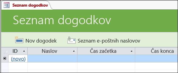 Obrazec »Seznam dogodkov« v Accessovi predlogi zbirke podatkov za dogodke