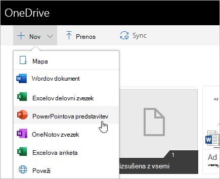 Ustvarjanje datotek v storitvi OneDrive za podjetja