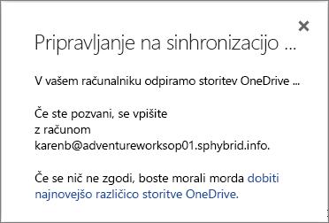 Posnetek zaslona pogovornega okna »Priprava na sinhronizacijo« med nastavitvijo storitve OneDrive za podjetja za sinhronizacijo