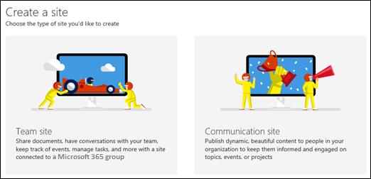 Izbira vrste spletnega mesta v SharePoint Onlineu