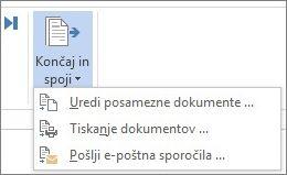 Posnetek zaslona zavihka »Pošiljanje« v Wordu, ki prikazuje ukaz »Končaj in spoji« in povezane možnosti.
