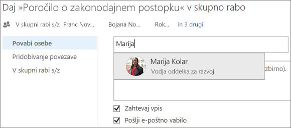 Posnetek zaslona dajanja datoteke v skupno rabo v storitvi OneDrive za podjetja
