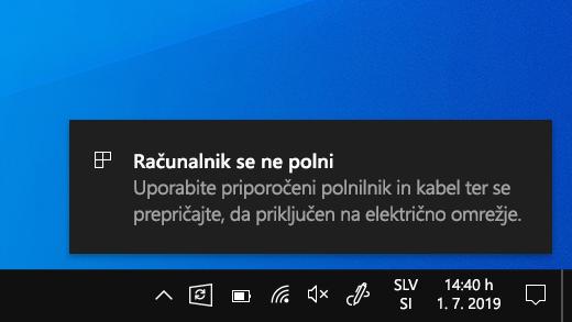 Računalnik ne polni opozorila v tabličnem računalniku Surface.