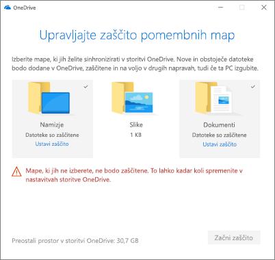 Posnetek zaslona upravljanje zaščito pogovorno okno pomembno mape v storitvi OneDrive