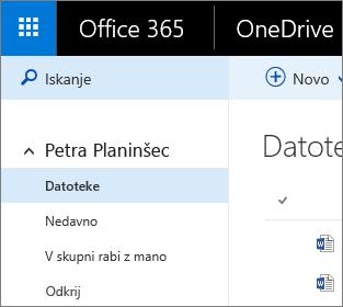 Posnetek zaslona pogleda »Datoteke« v storitvi OneDrive za podjetja