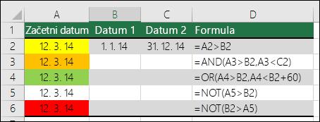 Primer uporabe funkcij AND, OR in NOT za preskušanje pogojnega oblikovanja