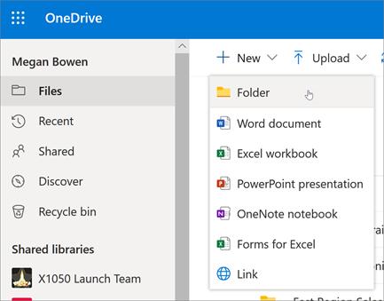 Možnost »Ustvari mapo« v storitvi OneDrive