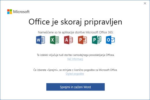 Pokaže stran »Office je skoraj pripravljen«, na kateri lahko sprejmete licenčne pogoje in zaženete aplikacijo.