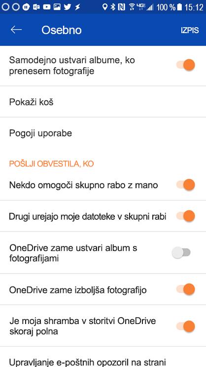 Če želite nastaviti nastavitve obvestila, pojdite v razdelek nastavitve programa OneDrive za Android.