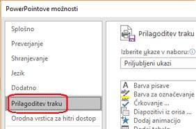 Izberite datoteko in nato še možnosti in nato še prilagajanje traku.