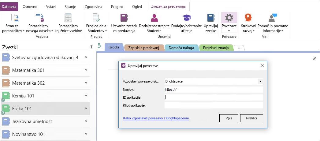 Posnetek zaslona povezave pogovorno okno dodatka v OneNotov zvezek za predavanja s pravilnikom skupine ni konfiguriran.