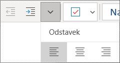 Leva poravnava odstavkov v aplikaciji OneNote za Windows 10