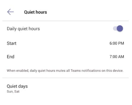 Slika nastavitev tihih ur v mobilni aplikaciji Teams