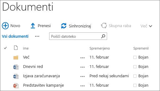 Posnetke zaslona knjižnice dokumentov v strežniku SharePoint Server 2016