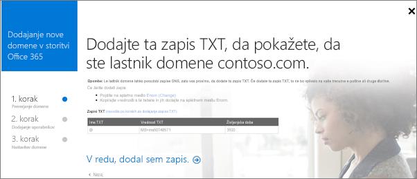 Dodajte zapis TXT za potrditev lastništva domene.