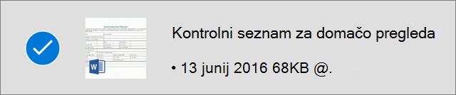 Označena datoteka v storitvi OneDrive za delo brez povezave