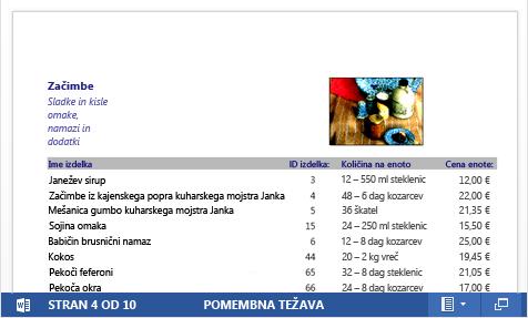 Vdelana datoteka PDF kataloga z izdelki, prikazana v programu Word Web App