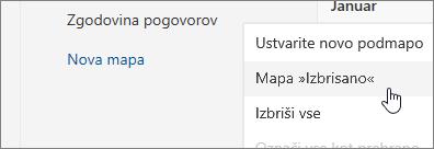 Posnetek zaslona možnosti menija za brisanje mape