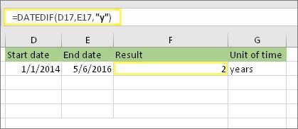 """= DATEDIF (D17, E17, """"y"""") in rezultat: 2"""