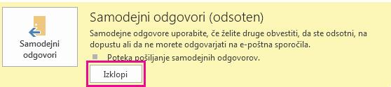 Posnetek zaslona pogovornega okna »Izklop samodejnih sporočil« v Outlooku