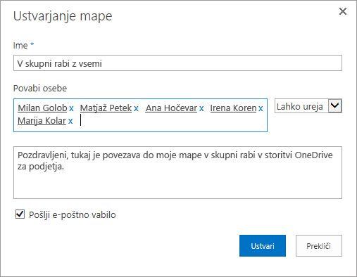 Pogovorno okno za vnašanje e-poštnih naslovov oseb, za katere želite dati v skupno rabo mapo programa OneDrive za podjetja.