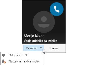 Posnetek zaslona obvestila o klicu z odprtim menijem »Možnosti«.