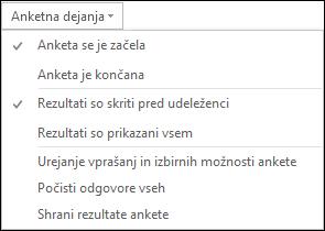 Posnetek zaslona dejanj ankete