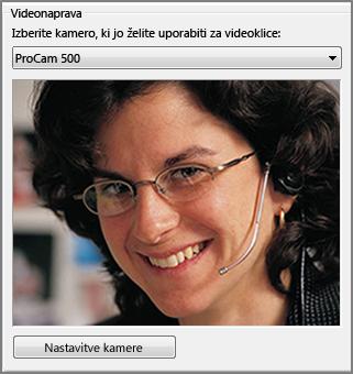 posnetek zaslona možnosti za video