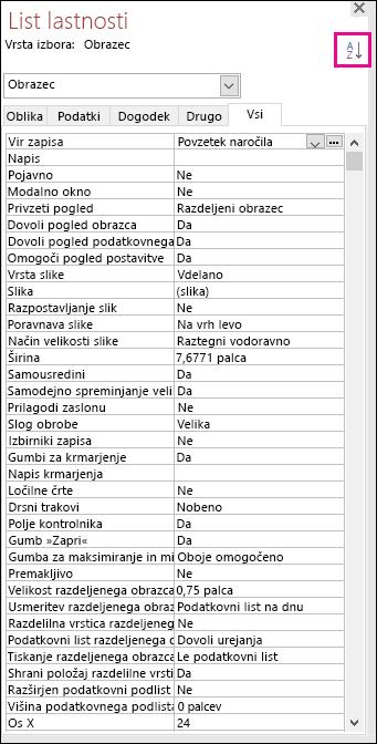 Posnetek zaslona Accessovega lista z lastnostmi brez razvrščanja lastnosti