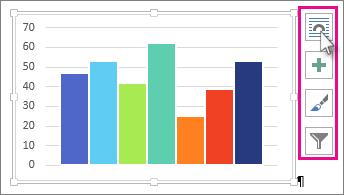 Slika Excelovega grafikona, prilepljenega v Wordov dokument, in štirih gumbov za postavitev