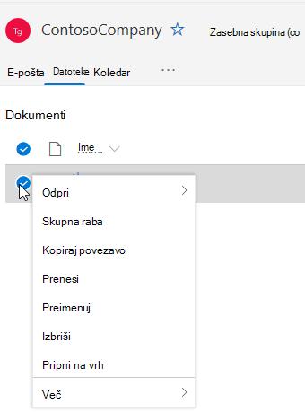 Prikaz možnosti brisanja in preimenovanja datotek