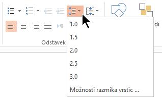 V meniju Možnosti razmika med vrsticami na traku, lahko izberete enojni, dvojni razmik, ali druge možnosti razmika navpično črto.