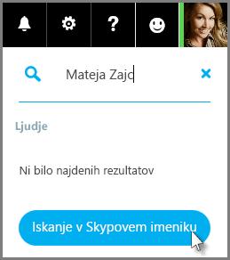 Kliknite »Iskanje v Skypovem imeniku«