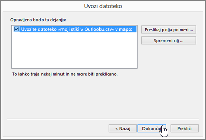 When you import Gmail contacts to your Office 365 mailbox, click the Finish button to start the migration