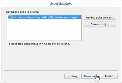 Pri uvozu stikov iz Gmaila v nabiralnik v storitvi Office 365 kliknite gumb »Dokončaj«, da začnete selitev.