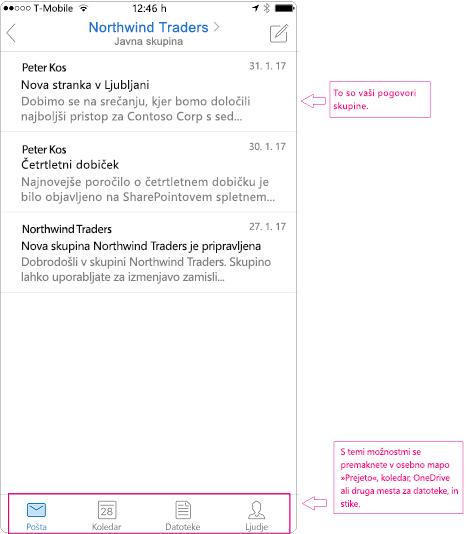 Pogled pogovora skupine v Outlook za prenosne naprave