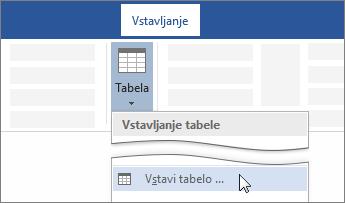 Možnost »Vstavi tabelo« na Wordovem traku