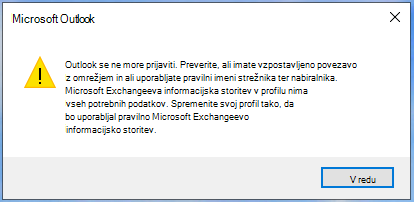 Outlook se ne more prijaviti.