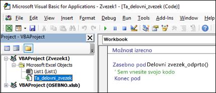 Ta delovni zvezek modul v Visual Basic Editor (VBE)