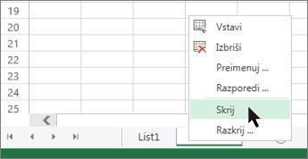 Z desno tipko miške kliknite zavihek lista in nato kliknite »Skrij«, da skrijete delovni list.